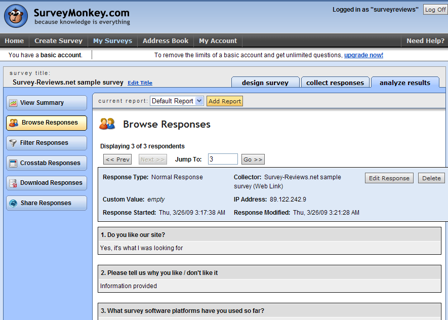 survey monkey survey report details