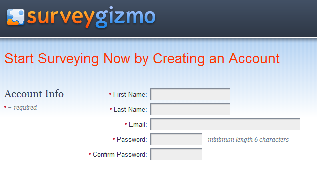 surveygizmo signup
