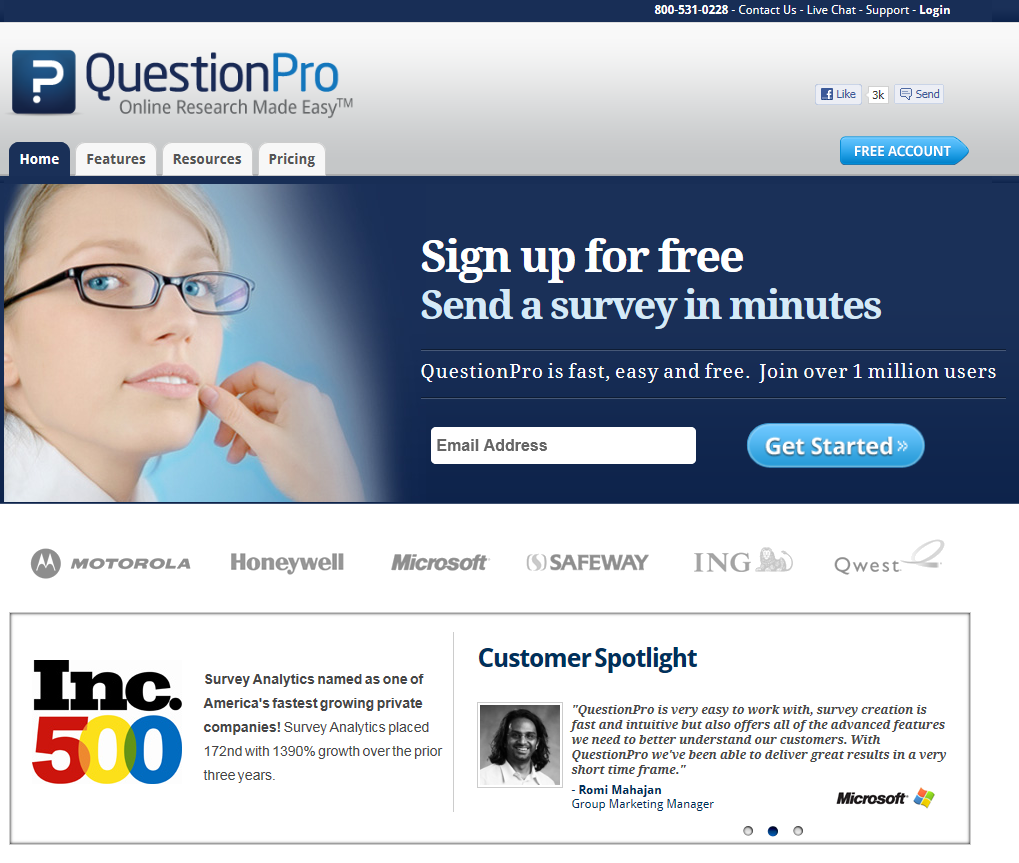 QuestionPro website redesign | Survey Software Reviews