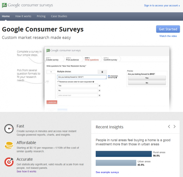 google consumer surveys home